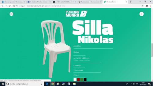 mesa redonda 95 cm + 4 sillas nikolas. plásticos munro