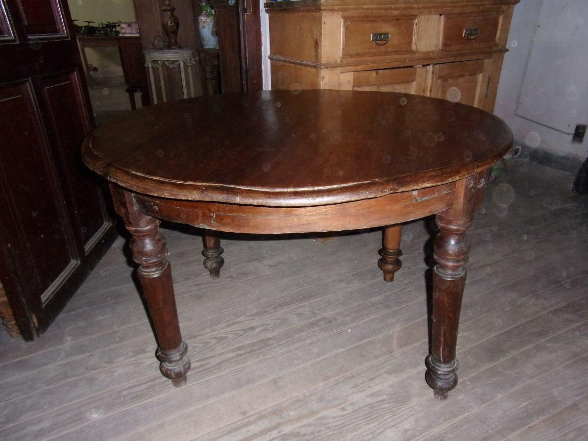 Mesa redonda antigua de muy buena madera buenas for Mesa madera antigua