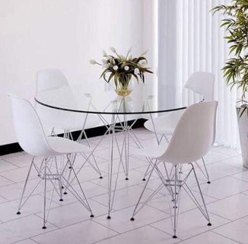 mesa redonda charles eames + 4 cadeiras charles eames