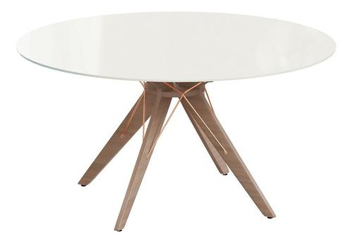 mesa redonda com tampo de vidro temperado mvr-1981 off white