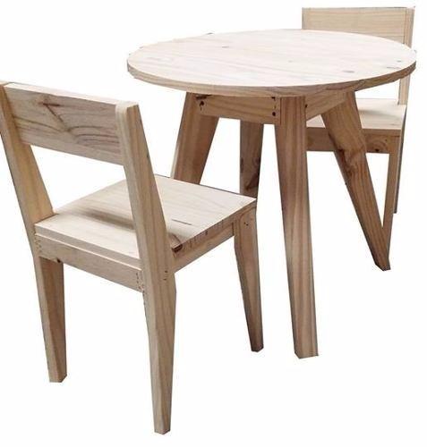 mesa redonda comedor 1 m 2 sillas pino vintage escandinavo - Mesa Redonda Comedor