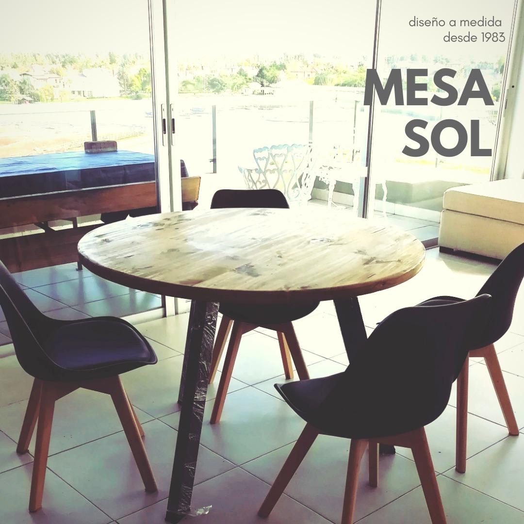 Mesa Redonda Comedor Industrial Hierro Madera A Medida 90 - $ 5.800 ...