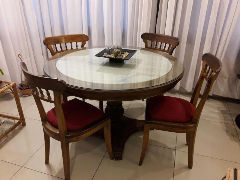 Mesa redonda con 4 sillas excelente madera - Mesa redonda con sillas ...