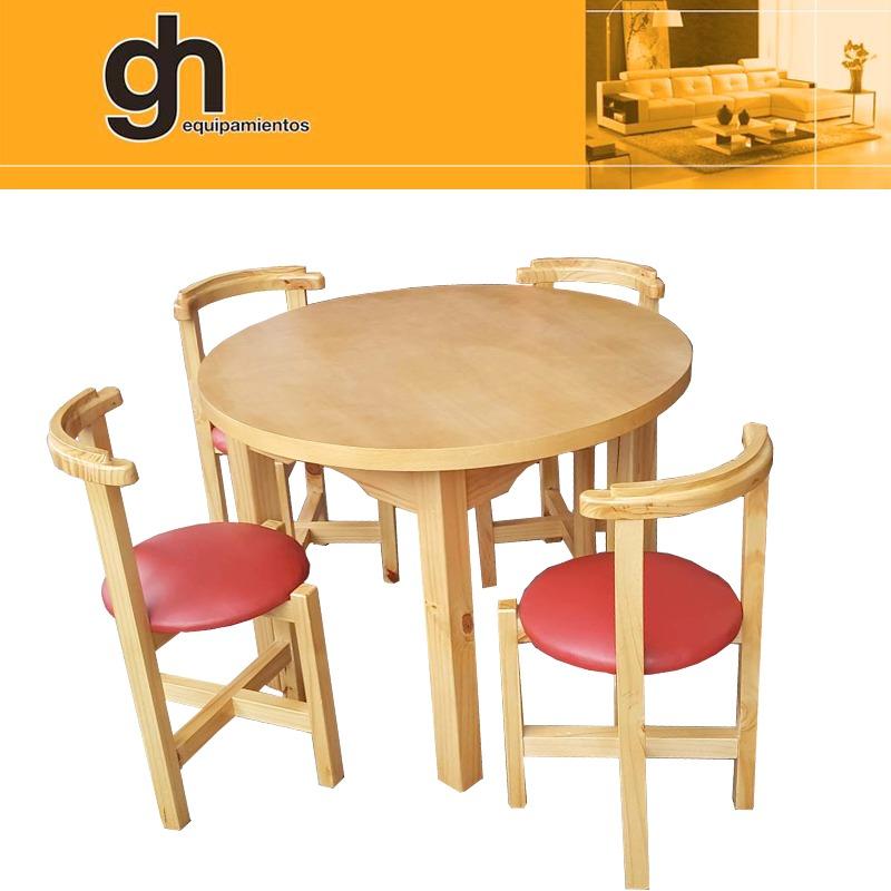 Mesa redonda con 4 sillas para cocina o comedor for Sillas para cocina comedor