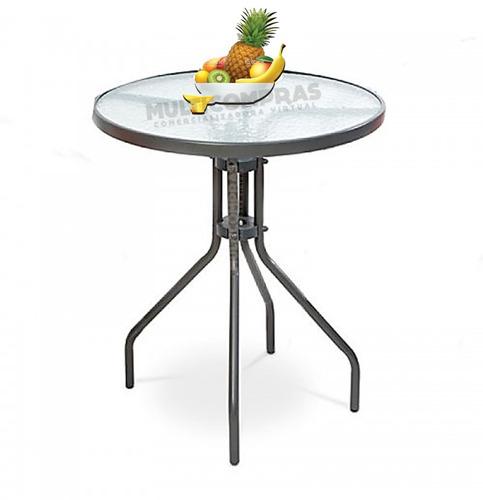 mesa redonda con vidrio para balcón cocina patio 60 x 70 cm