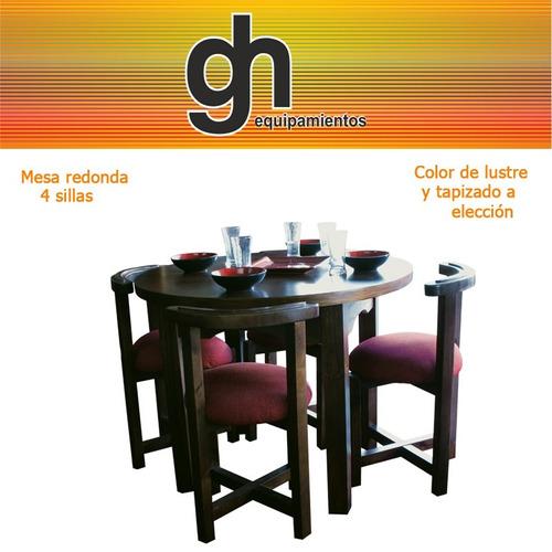 mesa redonda de 1 mts con 4 sillas lustrado y tapizado