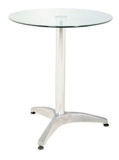 mesa redonda de vidrio - color gris