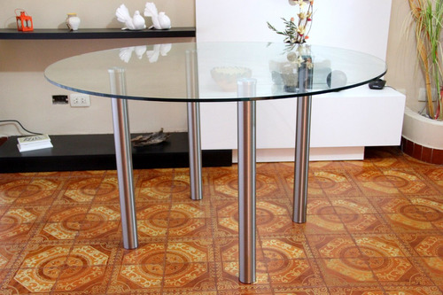 mesa redonda de vidrio color y acero inoxidable