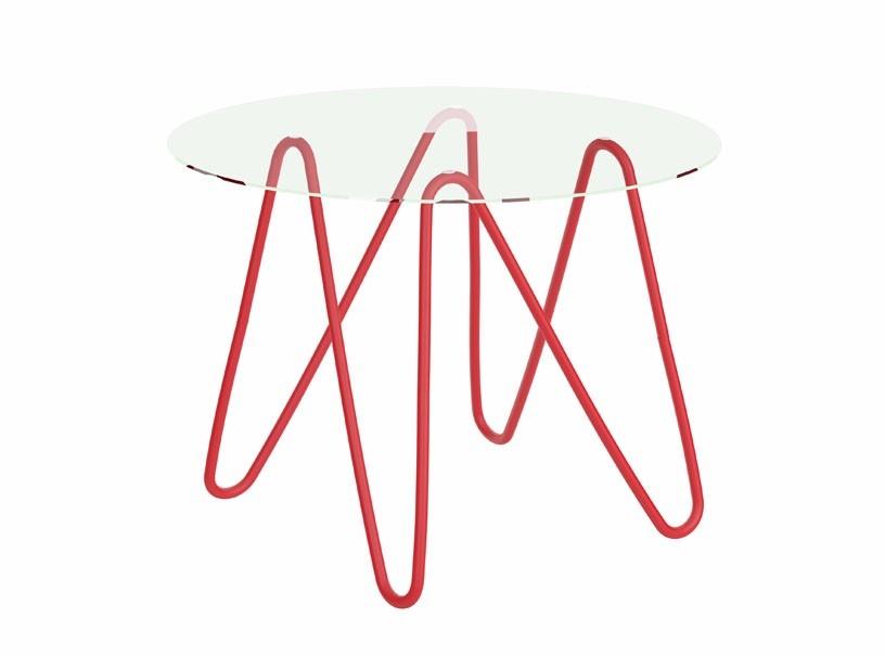 Mesa redonda de vidrio con armaz n rojo cer micas castro for Ceramicas castro