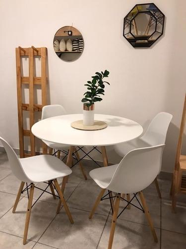 mesa redonda eames 110cm + 4 sillas eames madera comedor