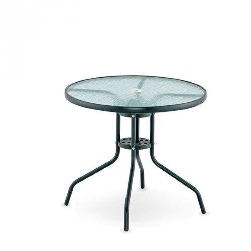 mesa redonda gris en aluminio, tapa de vidrio de 80cm