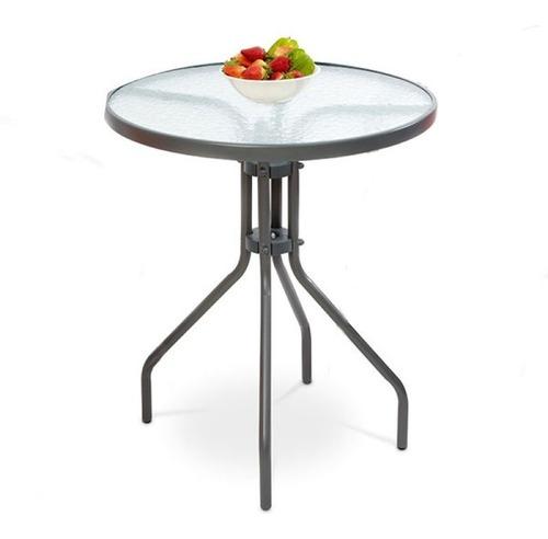 mesa redonda gris en metal de 60cm
