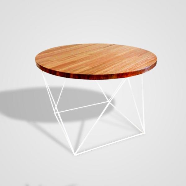 mesa redonda madera finger joint 57cm base hierro triangular - Mesa Redonda Madera
