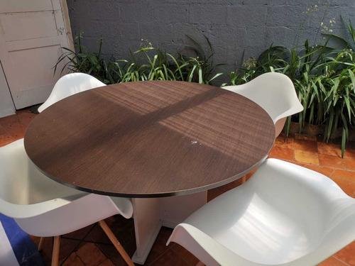 mesa redonda para reuniones o comedor melamina café/blanco