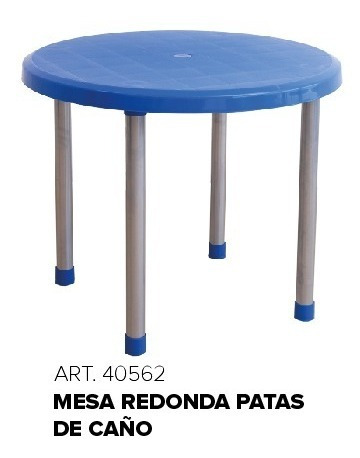 mesa redonda patas de caño quality plastic 90 cm