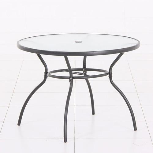 mesa redonda plata en metal de 100cm