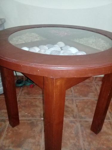 mesa redonda rustica madera vidrio cerealera cafe o living