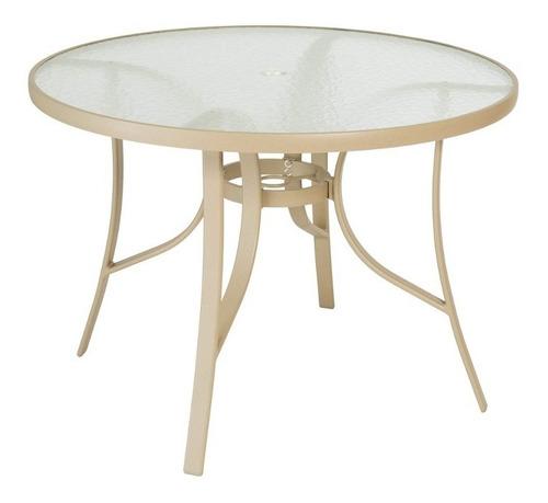 mesa redonda tampo em vidro slim mestra móveis cinza fd