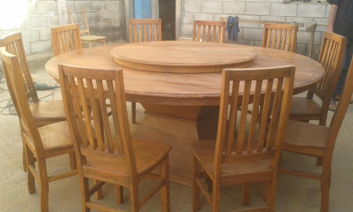 Mesa redonda tampo girat rio r stica madeira de demoli o - Mesa de centro giratoria ...