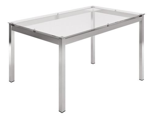 mesa retangular com tampo de vidro mvr-1953 incolor/ cromada