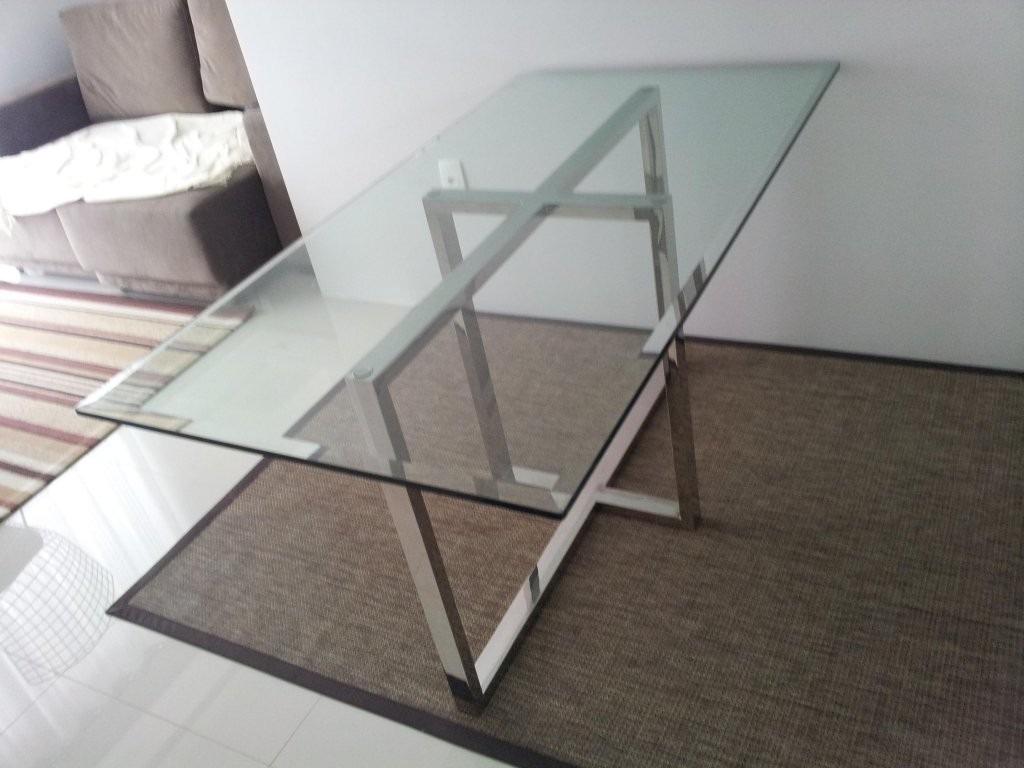 mesa retangular de vidro com base em a o inox r