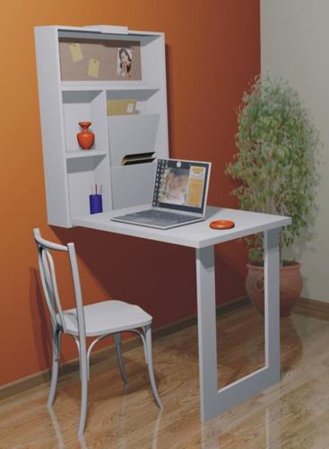 mesa retrátil de parede com estante multi-uso