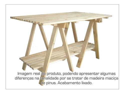 mesa ripada 2 cavaletes + 1 tampa + 1 prateleira 140x80cm