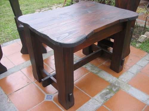 Mesa rustica artesanal madera maciza en for Mesa madera maciza rustica