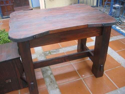 Mesa rustica artesanal madera maciza en mercado libre - Mesa madera maciza rustica ...