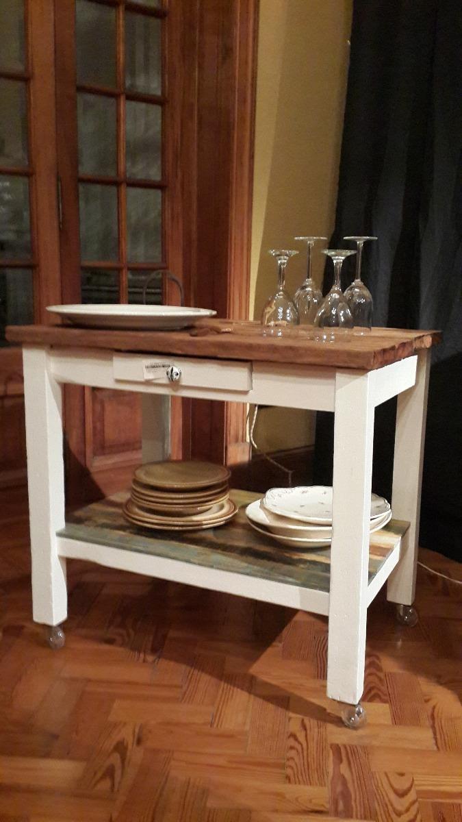 Mesa Rustica Auxiliar Cocina/ Living Con Tapa De Quebracho