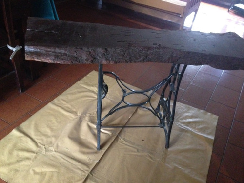mesa rústica base de hierro tabla de salina