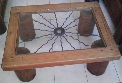 mesa rustica con hierro forjado c/ imagen de sol comonueva