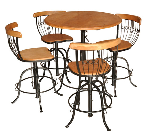 mesa rustica de ferro e madeira bar com  6 cadeiras