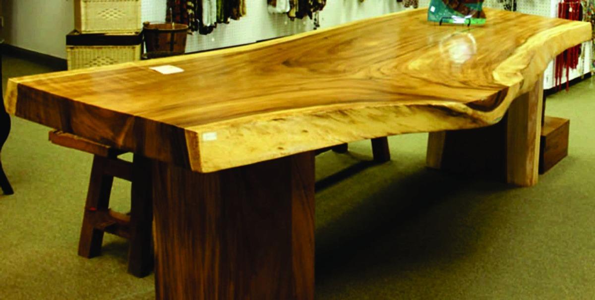 mesa rustica de jardin troncos macizas madera entera muebles cargando zoom - Mesa De Madera Rustica