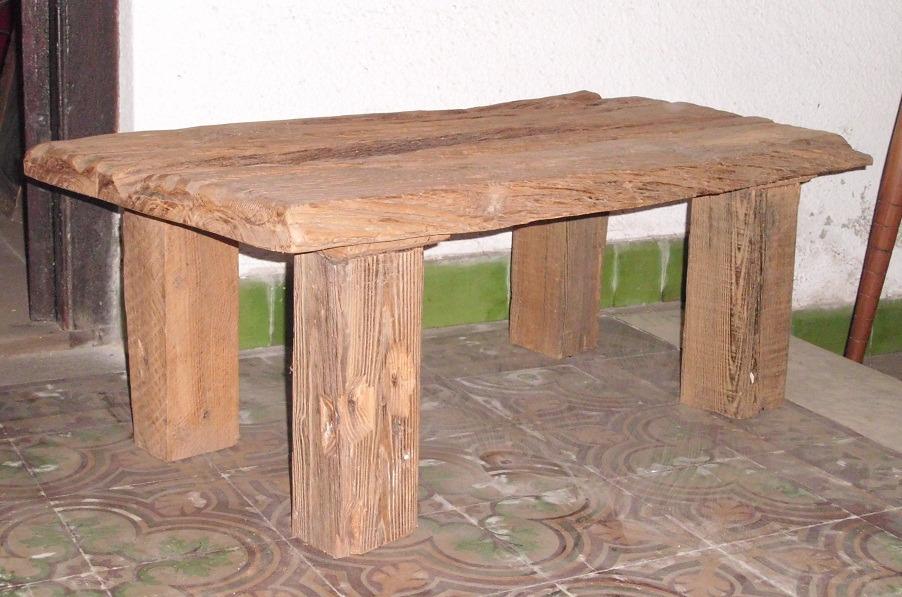Mesa r stica de madera maciza en mercado libre for Mesas rusticas de madera maciza