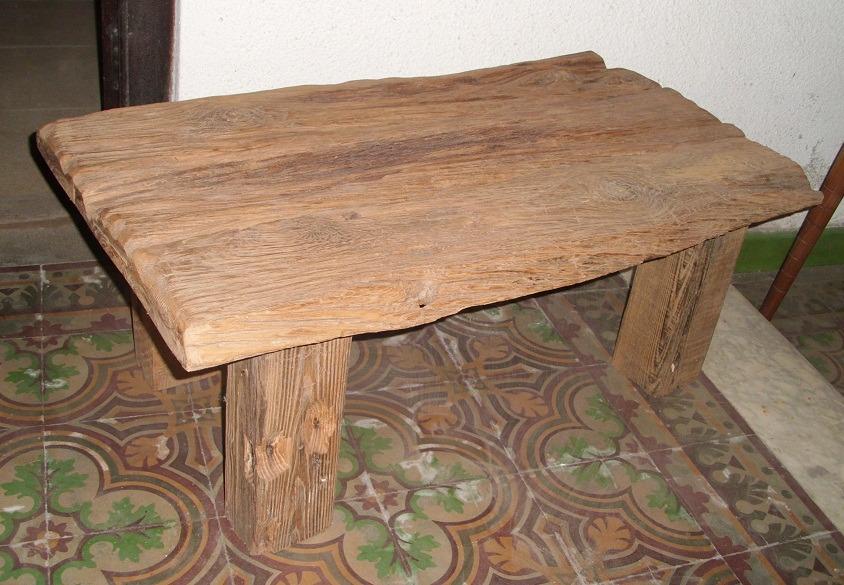 Mesa r stica de madera maciza en mercado libre for Hacer mesa de madera rustica