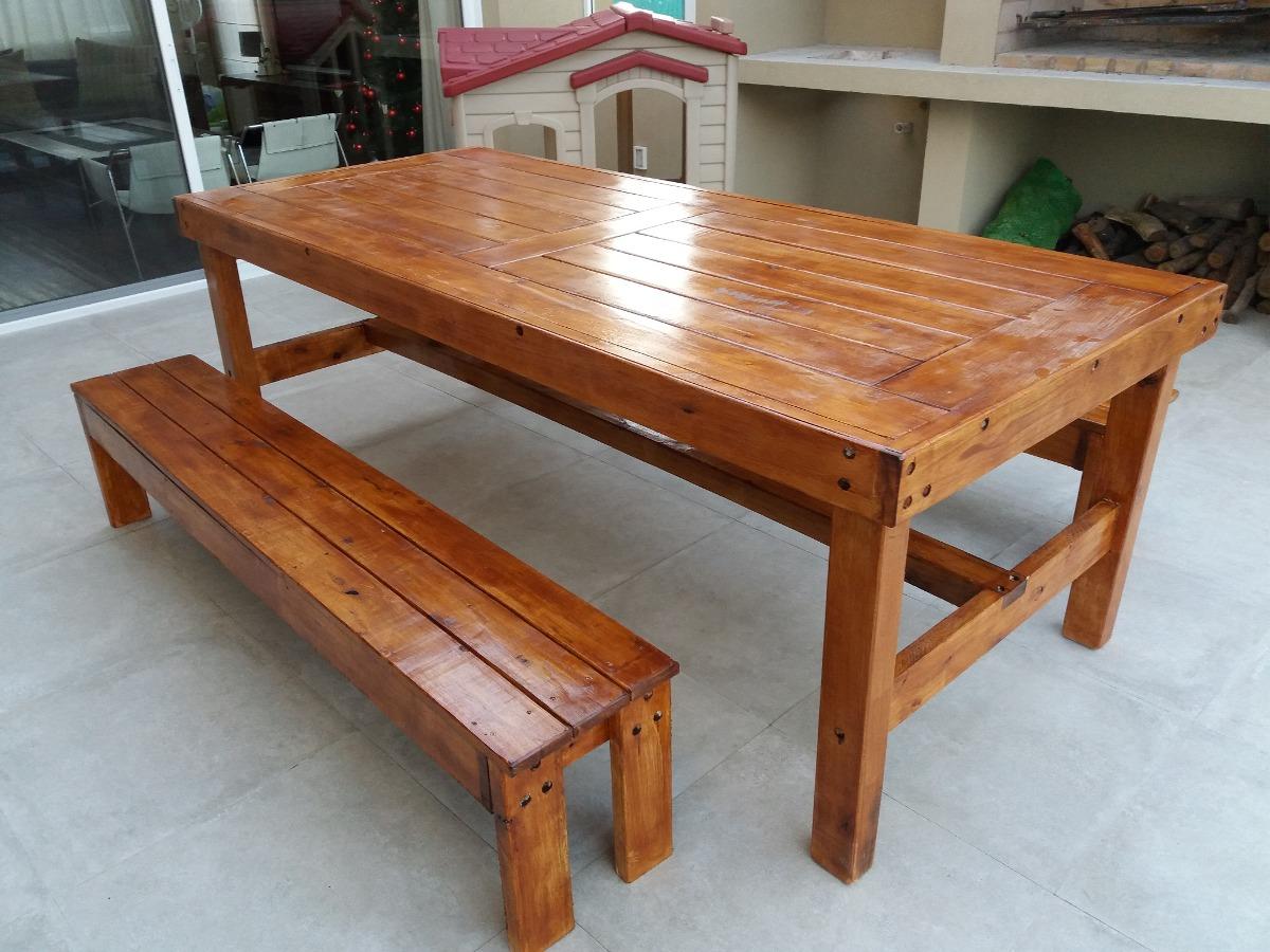 Mesa rustica en madera maciza con bancos laterales 15 for Mesa madera maciza rustica