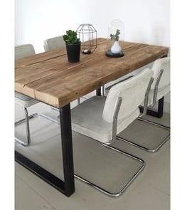 mesa rustica hierro y madera coffe ratona 120x80x45