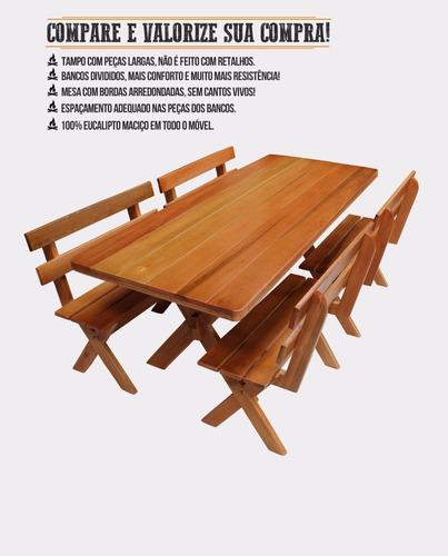 mesa rustica + madeira 2 metros + bancos + eucalipto