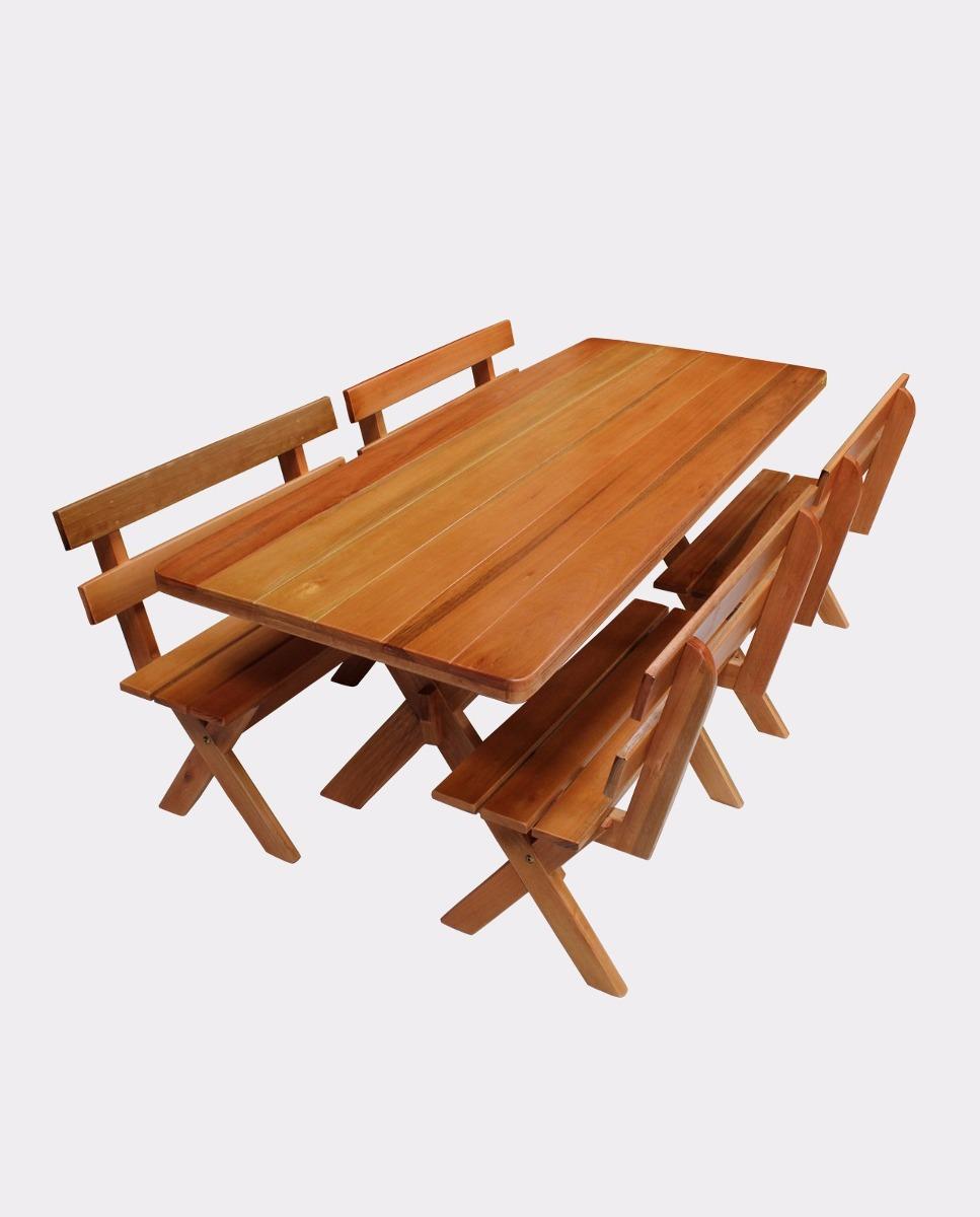 Mesa rustica madeira 2 metros bancos eucalipto r for Mesa 2 metros comensales