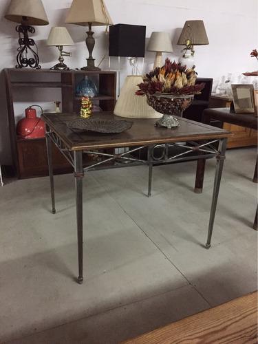 mesa rustica mexicana de hierro forjado y madera