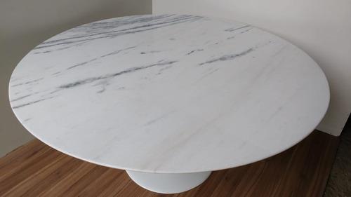 mesa saarinen jantar  mármore branco espirito santo  1,00m ø