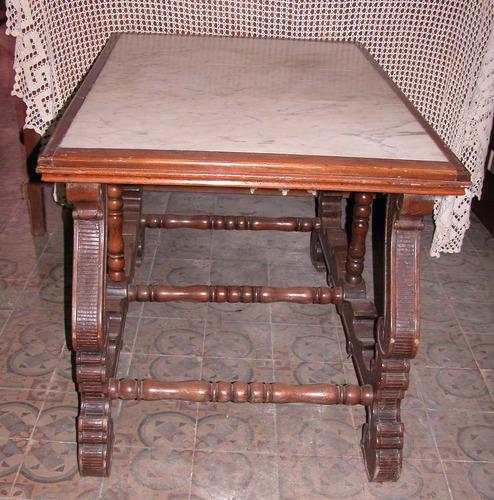 mesa sala colonial cedro y marmol ideal isla cocina