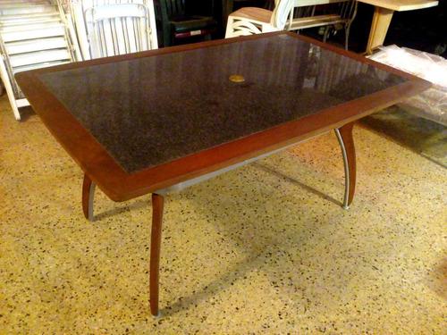 mesa senna - aluminio, vidrio y madera teka - 1.50m x 0.95m