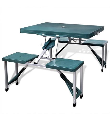 mesa silla verde plegable camping 4 bancos maletin aluminio