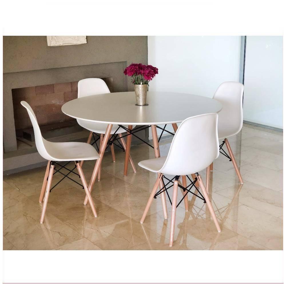Mesa Sillas Comedor Juego 4 Eames Living Moderno Blanco - $ 8.300,00 ...