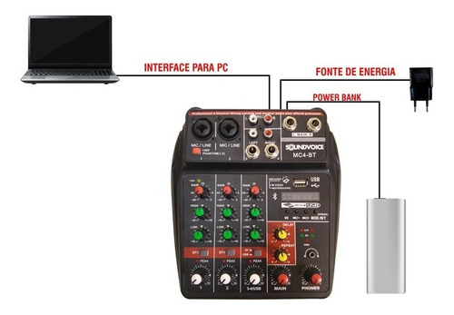 mesa som 4 canais compacta usb efeito bluetooth interface