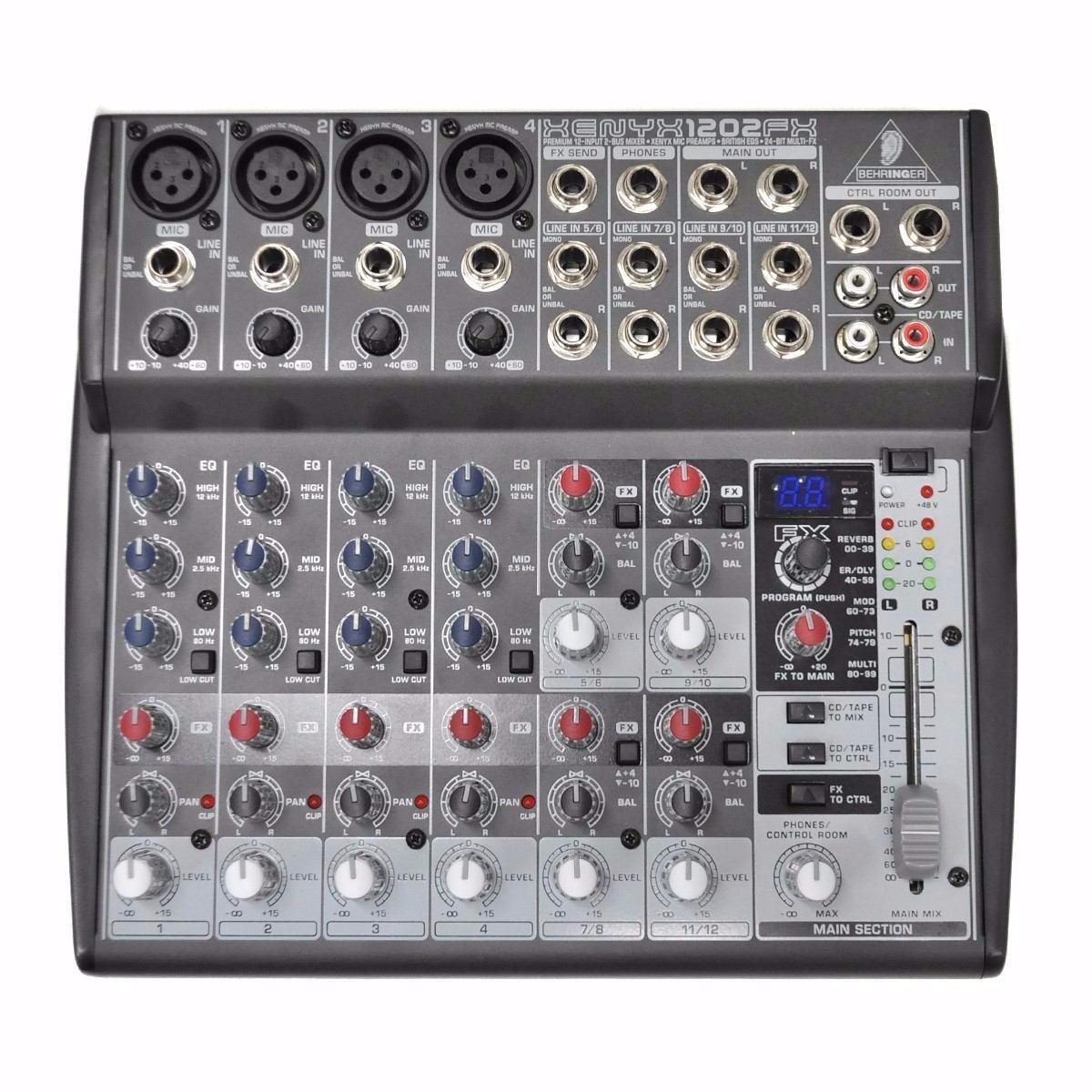 mesa de som behringer xenyx 1202fx c processador efeitos