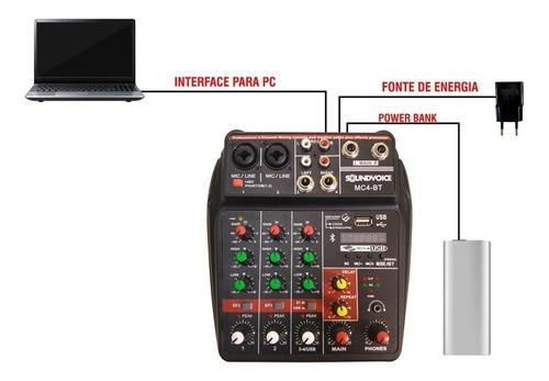 mesa som compacta usb bluetooth efeito 4 canais