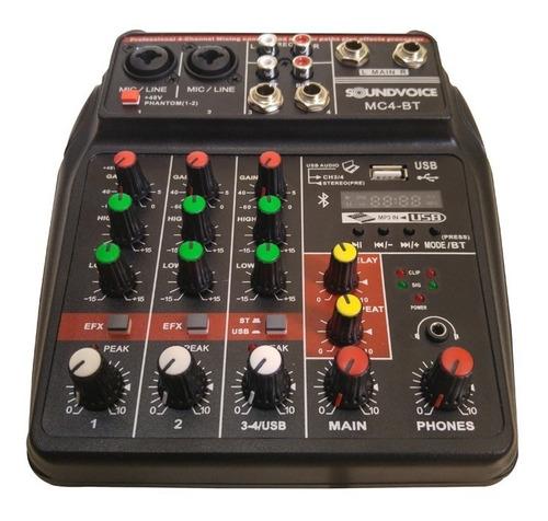 mesa som usb bluetooth efeito 4 canais interface gravação